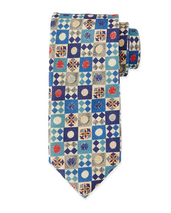 Geometric-Print Silk Tie, Blue Multi