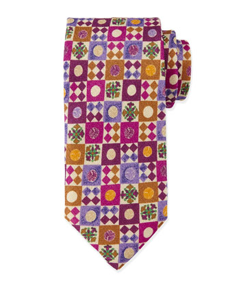 Geometric-Print Silk Tie, Pink/Multi