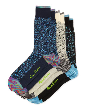 Axed 3-Pack Pattern Socks, Black/Navy/Blue