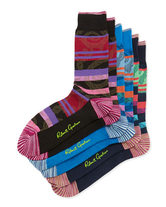 Tecate 3-Pack Stripe Socks, Black/Navy/Blue