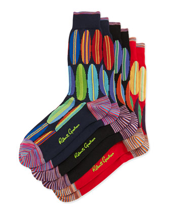 Hollow Board 3-Pack Pattern Socks, Black/Navy/Red