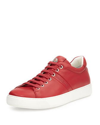 Vincent Low-Top Leather Sneaker, Red