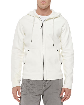 Coated Zip-Front Hoodie, White