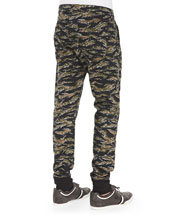 Tapered Camo-Print Runner Pants, Gray