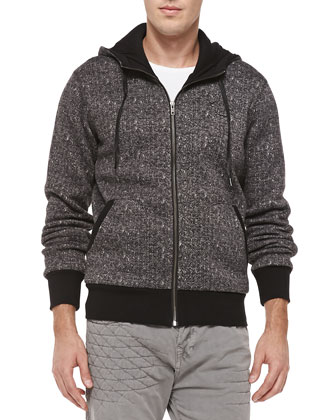 Herringbone Fleece Zip-Up Hoodie, Black
