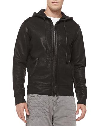 Coated Zip-Front Hoodie, Black