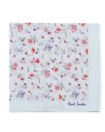 Floral-Pattern Pocket Square, Blue/Red