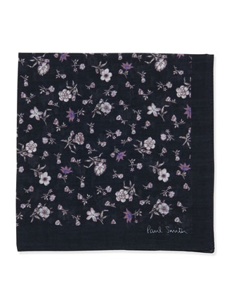 Floral-Print Pocket Square, Blue/White
