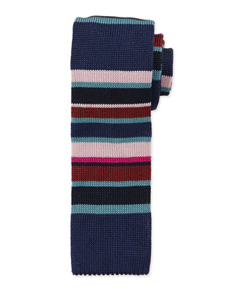 Multi-Stripe Knit Silk Tie, Multicolor/Navy