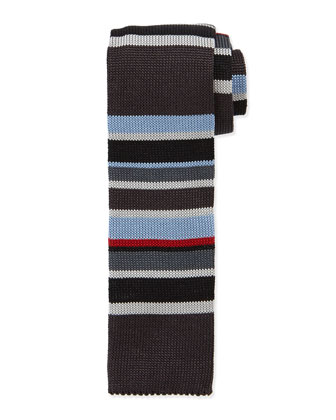 Multi-Stripe Knit Silk Tie, Multicolor/Gray