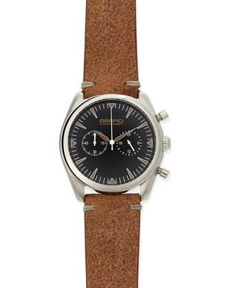 Vintage 42mm Chronograph Watch, Black Dial/Brown Strap
