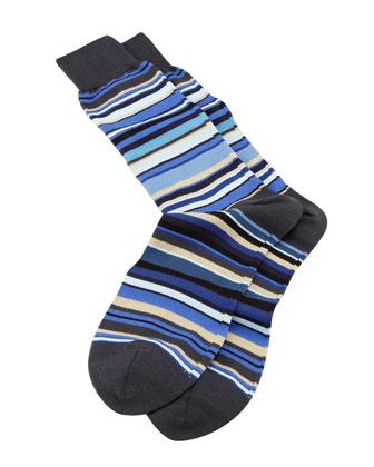 Classic Multi-Stripe Socks, Blue