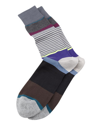 Multicolored Step-Stripe Socks, Gray