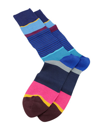 Multicolored Step-Stripe Socks, Navy