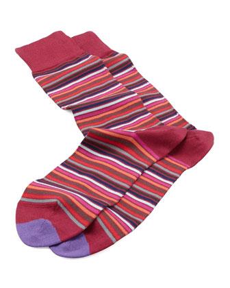 Microstripe Socks, Red