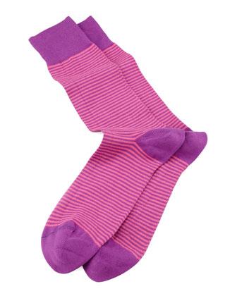 Two-Stripe Socks, Pink/Purple
