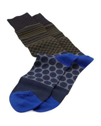 Polka-Dot Duo-Stripe Socks, Black