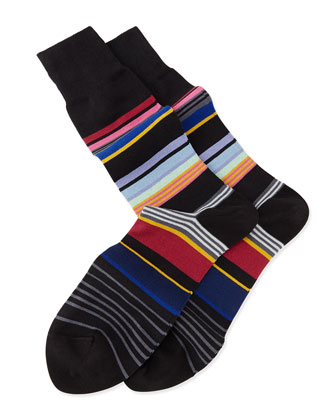 Stamp Striped Knit Socks, Black