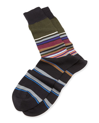 Multicolor Block Stripe Knit Socks, Black