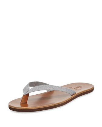 Men's Leather-Sole Flip-Flop, Gray