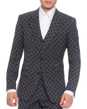 Wool Polka Dot Jacket and Vest, Gray