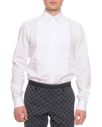 Long-Sleeve Bib-Front Dress Shirt, White