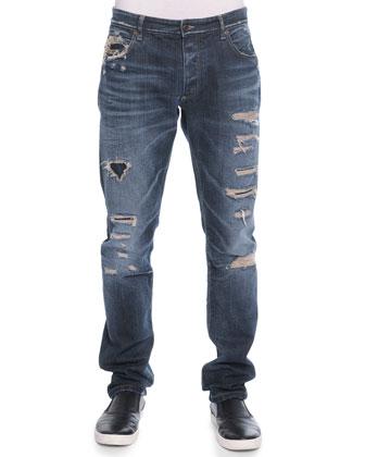 Destroyed Denim Jeans, Blue