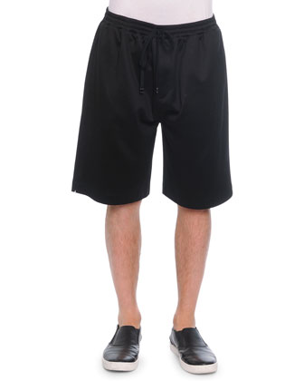 Cotton-Blend Sweat Shorts, Black