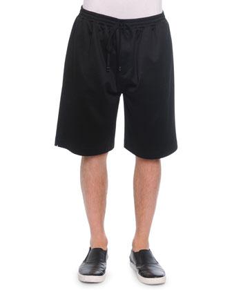 Cotton-Blend Sweat Shorts, Black