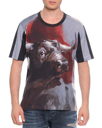 Bull-Print Short-Sleeve Tee, Gray