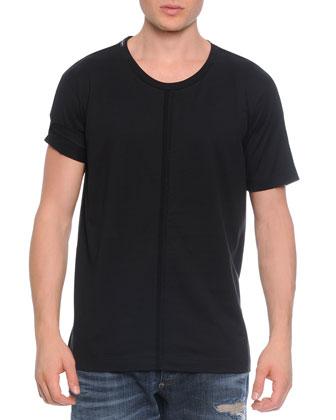 Short-Sleeve Tee W/ Passementerie Detail, Black
