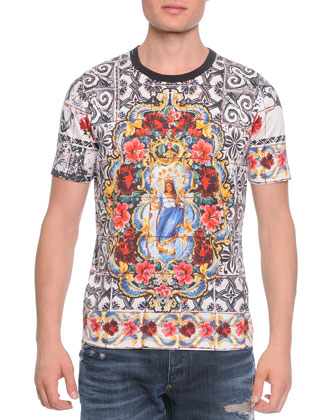 Short-Sleeve Mosaic-Print Tee, Multicolor