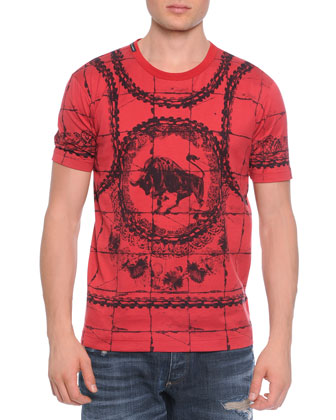 Short-Sleeve Bull-Print Tee, Red