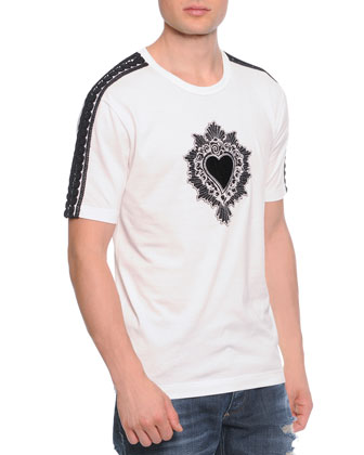 Passementerie Short-Sleeve Tee W/ Heart, White