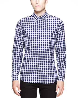 Check Long-Sleeve Shirt, Navy