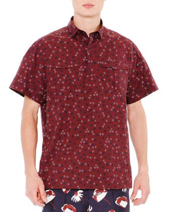 Star & Floral-Print Poplin Shirt, Burgundy