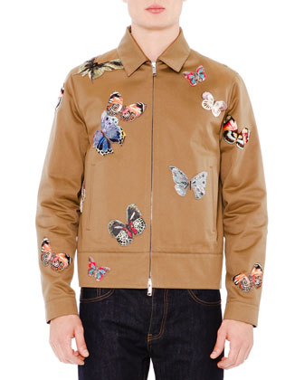 Butterfly-Embroidered Zip-Up Jacket, Brown
