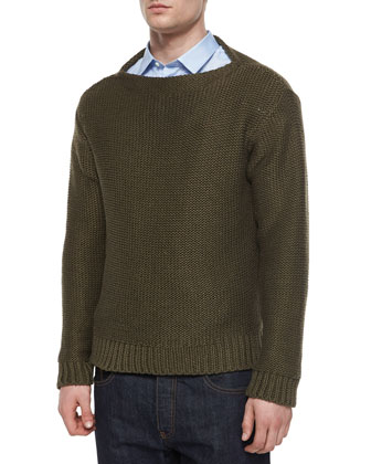 Chunky Knit Crewneck Sweater, Brown