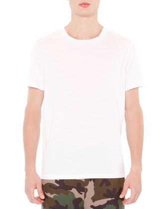 Basic Short Sleeve T-Shirt With Back Stud, White
