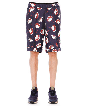 Poppy-Print Drawstring Shorts