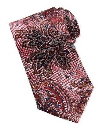 Glen Plaid & Paisley Tie, Burgundy