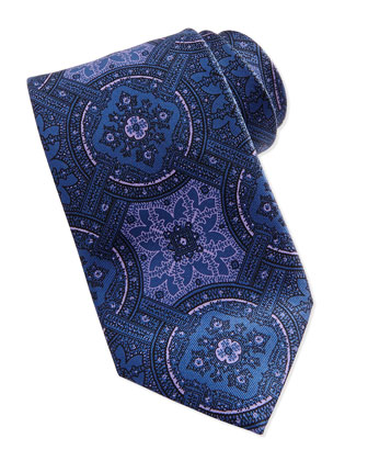Wheel Medallion-Print Tie, Gray