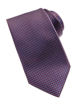 Woven Iridescent Microneat Tie, Blue