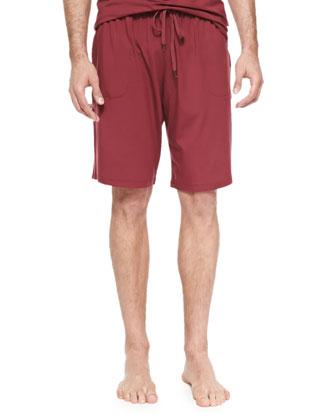 Basel Jersey Lounge Shorts, Burgundy