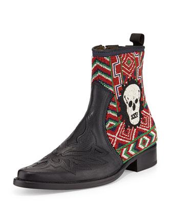 Jestin Beaded-Skull Chelsea Boot