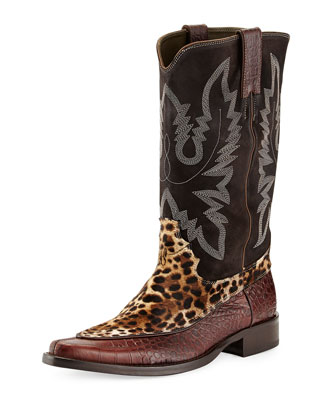 JWest Mixed-Media Western Boot