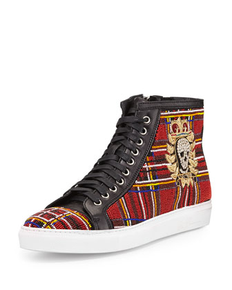 Lajos Men's Tartan Beaded High-Top Sneaker