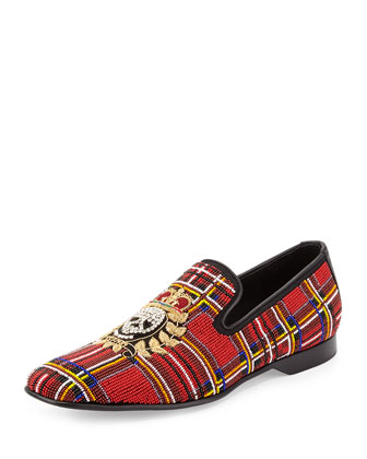Pascow Men's Beaded Skull Loafer, Tartan