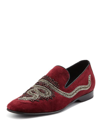 Pascow Snake-Beaded Velvet Loafer, Burgundy