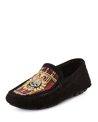 Vitox Beaded Skull Loafer, Black/Tartan